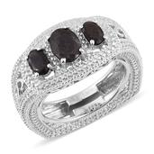KARIS Collection - Natural Silver Sapphire Platinum Bond Brass Ring (Size 6.0) TGW 2.750 cts.