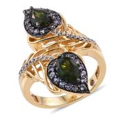 Stefy Russian Diopside, Madagascar Pink Sapphire, Tanzanite 14K YG Over Sterling Silver Openwork Paisley Ring (Size 6.0) TGW 2.496 cts.