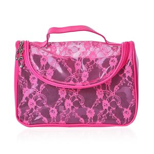Fuchsia Floral Lace Multi Purpose Bag (9x4x6 in)