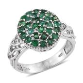 Kagem Zambian Emerald Platinum Over Sterling Silver Ring (Size 6.0) TGW 1.500 cts.