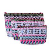 Set of 3 Multi Color Geometric Pattern Cosmetic Bags (11x7 in)