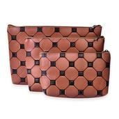 Brown Checker Print Set of 3 Cosmetic Bags (11x7 in)