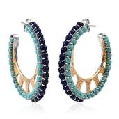 Stefy Lapis Lazuli, Sonoran Blue Turquoise, Madagascar Pink Sapphire 14K YG and Platinum Over Sterling Silver Hoop Earrings TGW 11.820 Cts.