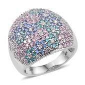 J Francis - Platinum Over Sterling Silver Ring Made with Multi Color SWAROVSKI ZIRCONIA (Size 8.0) TGW 5.690 cts.