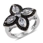 Espirito Santo Aquamarine, Thai Black Spinel Platinum Over Sterling Silver Ring (Size 6.0) TGW 1.860 cts.