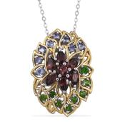 Umba River Zircon, Russian Diopside, Tanzanite 14K YG and Platinum Over Sterling Silver Pendant With Chain (20 in) TGW 3.15 cts.