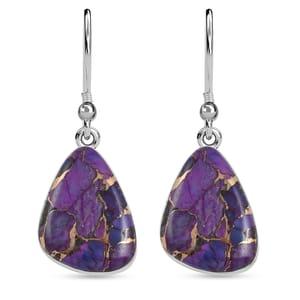 Santa Fe Style Mojave Purple Turquoise Sterling Silver Earrings TGW 30.00 cts.