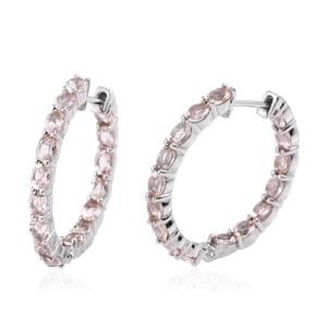 Marropino Morganite Platinum Over Sterling Silver Inside Out Huggie Hoop Earrings TGW 4.80 cts.