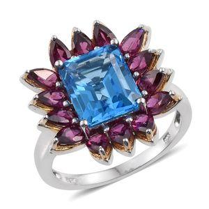 Swiss Blue Topaz, Orissa Rhodolite Garnet 14K YG and Platinum Over Sterling Silver Ring (Size 10.0) TGW 9.300 cts.