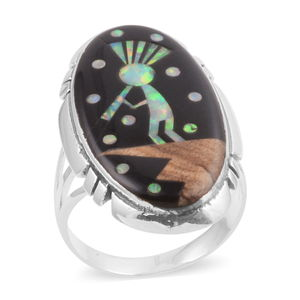 Santa Fe Style Black Onyx, Lab Created Opal, Picture Jasper Sterling Silver Elongated Indian Kokopelli Ring (Size 7.0) TGW 29.350 cts.