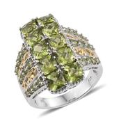 Hebei Peridot 14K YG and Platinum Over Sterling Silver Ring (Size 5.0) TGW 7.770 cts.