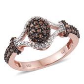 Red Diamond (IR), Diamond 14K RG Over Sterling Silver Split Ring (Size 7.0) TDiaWt 0.76 cts, TGW 0.760 cts.