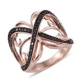 Red Diamond (IR) 14K RG Over Sterling Silver Openwork Ring (Size 8.0) TDiaWt 0.50 cts, TGW 0.500 cts.