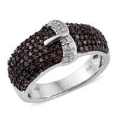 Red Diamond (IR), Diamond Platinum Over Sterling Silver Buckle Ring (Size 9.0) TDiaWt 1.00 cts, TGW 1.000 cts.