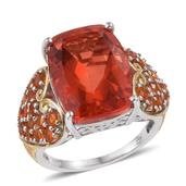 Sunfire Quartz, Jalisco Fire Opal 14K YG and Platinum Over Sterling Silver Statement Ring (Size 10.0) TGW 16.320 cts.