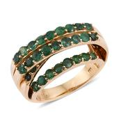 Brazilian Emerald 14K YG Over Sterling Silver Ring (Size 6.0) TGW 3.850 cts.