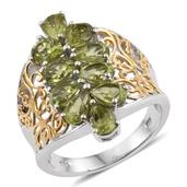Hebei Peridot 14K YG and Platinum Over Sterling Silver Ring (Size 7.0) TGW 4.200 cts.