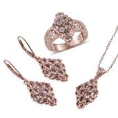 Marropino Morganite, Madagascar Pink Sapphire 14K RG Over Sterling Silver Lever Back Earrings, Ring (Size 9) and Pendant With Chain (20 in) TGW 5.08 cts.