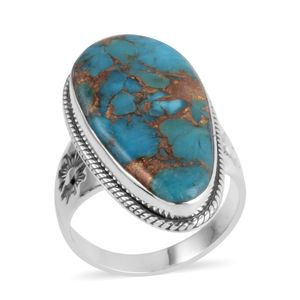 Santa Fe Style Mojave Turquoise Sterling Silver Ring (Size 8.0) TGW 2.250 cts.