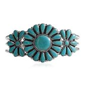Santa Fe Style Turquoise Sterling Silver Cuff (7 in) TGW 20.00 cts.