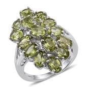 Hebei Peridot Platinum Over Sterling Silver Elongated Split Ring (Size 7.0) TGW 6.550 cts.