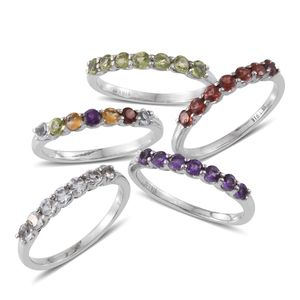 Multi Gemstone Stainless Steel Set of 5 Rings (Size 7) TGW 4.566 cts.