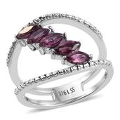Orissa Rhodolite Garnet Stainless Steel 5 Stone Double Band Ring (Size 5.0) TGW 1.460 cts.