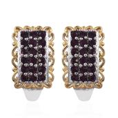 KARIS Collection - ION Plated 18K YG and Platinum Bond Brass J-Hoop Earrings Made with SWAROVSKI Purple Crystal TGW 1.000 Cts.