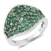 Kagem Zambian Emerald Platinum Over Sterling Silver Cluster Concave Ring (Size 8.0) TGW 2.79 cts.