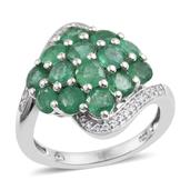 Kagem Zambian Emerald, White Zircon Platinum Over Sterling Silver Cluster Bypass Ring (Size 8.0) TGW 3.800 cts.