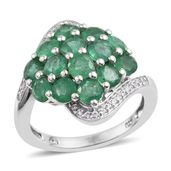 Kagem Zambian Emerald, White Zircon Platinum Over Sterling Silver Cluster Bypass Ring (Size 9.0) TGW 3.800 cts.