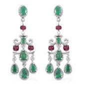 Kagem Zambian Emerald, Ruby Platinum Over Sterling Silver Chandelier Earrings TGW 6.40 cts.