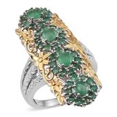 Kagem Zambian Emerald 14K YG and Platinum Over Sterling Silver Elongated Ring (Size 7.0) TGW 2.35 cts.