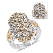 Turkizite, White Zircon 14K YG and Platinum Over Sterling Silver Ring (Size 8.0) Total Gem Stone Weight 2.400 Carat