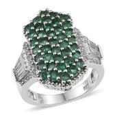 White Topaz, Kagem Zambian Emerald Platinum Over Sterling Silver Cluster Ring (Size 10.0) TGW 3.690 cts.