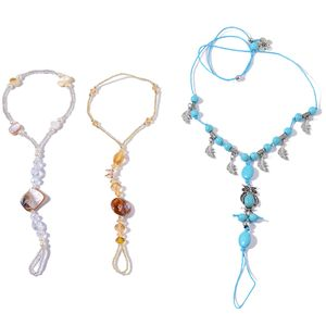 Murano Millefiori Glass, Blue Howlite, White Shell Silvertone Set of 3 Barefoot Anklets and Toe Ring (Stretchable) TGW 171.75 cts.