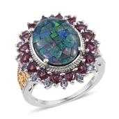 Australian Mosaic Opal, Orissa Rhodolite Garnet, Catalina Iolite 14K YG and Platinum Over Sterling Silver Ring (Size 6.0) TGW 8.540 cts.