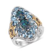 Australian Mosaic Opal, Electric Blue Topaz 14K YG and Platinum Over Sterling Silver Ring (Size 7.0) TGW 6.22 cts.