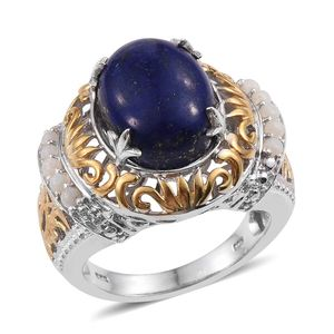 Lapis Lazuli, Australian White Opal 14K YG and Platinum Over Sterling Silver Ring (Size 10.0) TGW 10.450 cts.