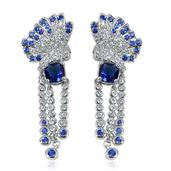 Creature Couture - Blue Glass, Austrian Crystal Stainless Steel Butterfly Earrings TGW 5.0000 Cts.