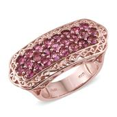 Morro Redondo Pink Tourmaline 14K RG Over Sterling Silver Ring (Size 5.0) TGW 2.50 cts.