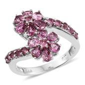 Pink Tourmaline Platinum Over Sterling Silver Floral Ring (Size 5.0) TGW 2.100 cts.