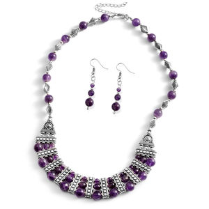 One Day TLV Amethyst Silvertone & Stainless Steel Earrings and Necklace (18-20 in) TGW 75.00 cts.