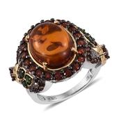 Jewel Studio by Shweta Baltic Amber, Mozambique Garnet, Russian Diopside 14K YG and Platinum Over Sterling Silver Ring (Size 7.0) TGW 2.760 cts.