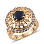 Kanchanaburi Blue Sapphire, Tanzanite 14K YG Over Sterling Silver Openwork Ring (Size 10.0) TGW 3.05 cts.