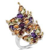 Jewel Studio by Shweta Orissa Rhodolite Garnet, Multi Gemstone 14K YG and Platinum Over Sterling Silver Ring (Size 8.0) TGW 7.335 cts.