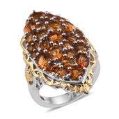 Santa Ana Madeira Citrine 14K YG and Platinum Over Sterling Silver Elongated Ring (Size 9.0) TGW 6.780 cts.