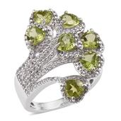 Hebei Peridot, White Topaz Platinum Over Sterling Silver Split Fashion Ring (Size 6.0) TGW 4.160 cts.