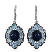 Thai Blue Star Sapphire, Electric Blue Topaz, Mozambique Garnet Platinum Over Sterling Silver Lever Back Dangle Earrings TGW 15.250 Cts.