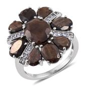 Chocolate Sapphire, Tanzanite Platinum Over Sterling Silver Ring (Size 8.0) TGW 11.970 cts.